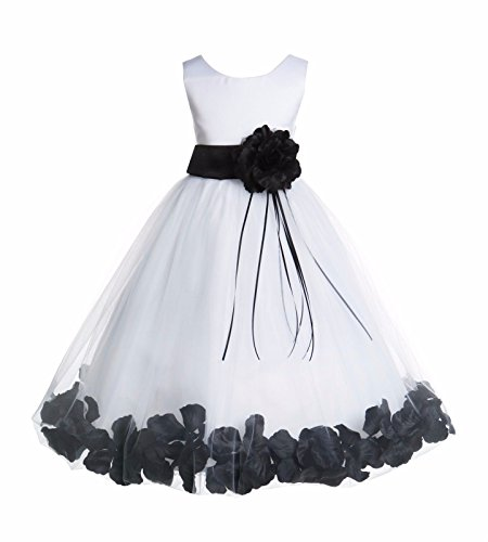 (White Tulle Floral Rose Petals Junior Flower Girl Dress Pageant Dresses 007 2)