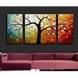 Unixtyle-100% Hand Painted Oil Painting on Canvas White Flowers Tree Wood Framed on the Back Beautiful Floral Wall Art Painting Ready to Hang Modern Home Decoration 5 Pcs/set