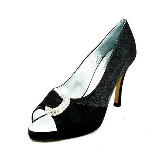 Ladies schimmern Medium Ferse Halbmond Strass Peep Toe Partei Schuhe Black
