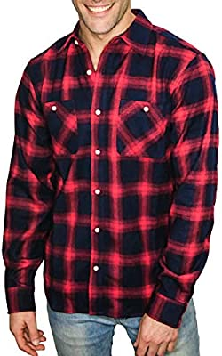 Mens Shirt Check Plaid Regular Fit Long Sleeve Shirt Button Down Grid Pattern with Chest Patch Pocket for Work and Sport Red