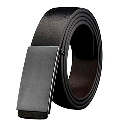 YEX Men's Belt Genuine Leather Jeans Belt Grey Plaque Buckle (Leather Plaque Buckle Belt)