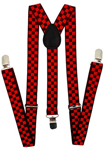 - Navisima Adjustable Elastic Y Back Style Suspenders for Men and Women With Strong Metal Clips, Red and Black Checker