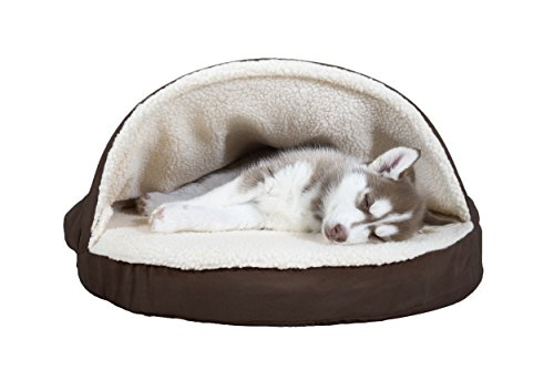 Furhaven Pet Dog Bed | Orthopedic Round Faux Sheepskin Snuggery Burrow Pet Bed for Dogs & Cats, Espresso, 26-Inch by Furhaven Pet
