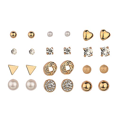 (Fashion Earrings Set Combination - 12/Sets,Elegant Heart Shaped Stud Earring,Suit for Travel Party Dancing)