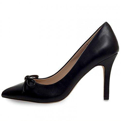 CASPAR Damen High Heels / Pumps mit hohem Absatz und klassisch eleganter Spitze mit Schleife - Schwarz & Weiß - SBU004 Schwarz