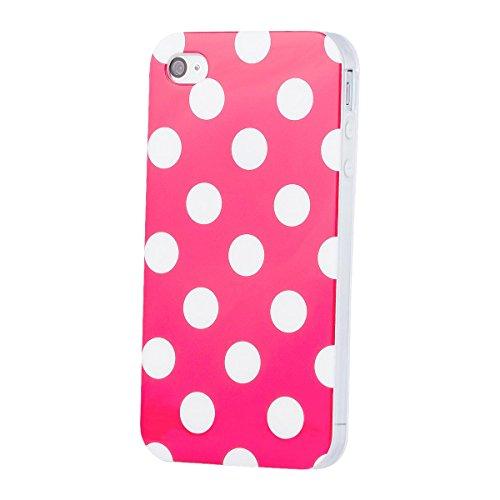 Apple iPhone 4 / 4S | iCues pois rose TPU Case | [Protecteur d'écran, y compris] Mesdames Femmes Filles motif motif gel de protection en silicone peau Couvercle de protection Couvercle Coque Housse Sa