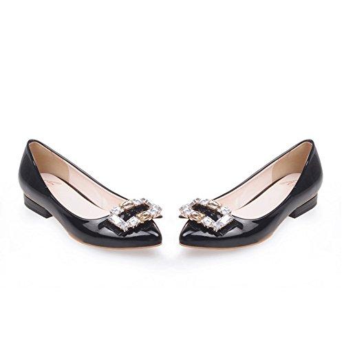 Lado puntiagudo hebilla de diamantes de imitación zapatos de novia/Zapatos de las mujeres embarazadas/bajo fondo plano zapatos A
