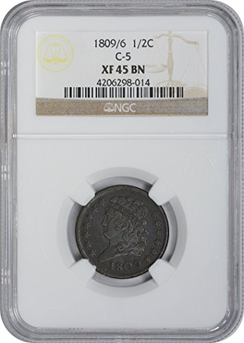 1809 Type Coin Half Cent XF45 BN NGC