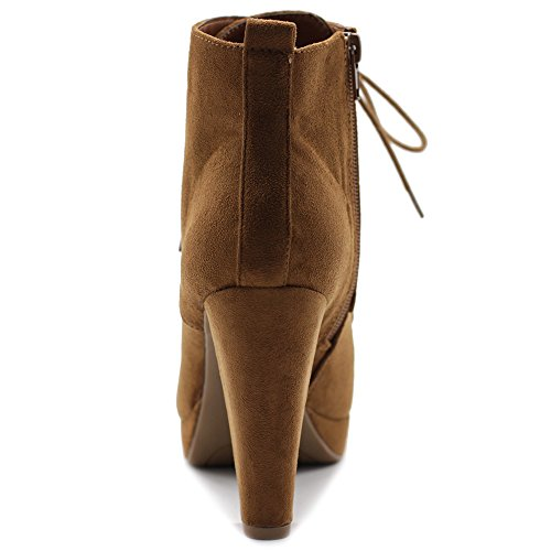 Heel Booties Platfrom up Suede Chunky Faux Ankle Women's Shoe Ollio Tan Lace awOZFKq