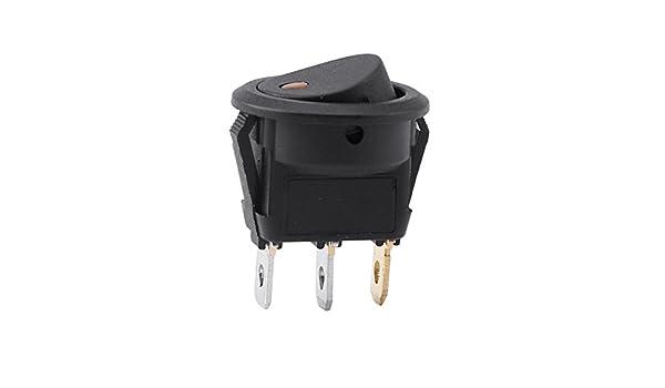 furgoneta Interruptor redondo de 12 V para encendido//apagado interruptor de luz LED de 3 pines para coche luz naranja cami/ón salpicadero barco