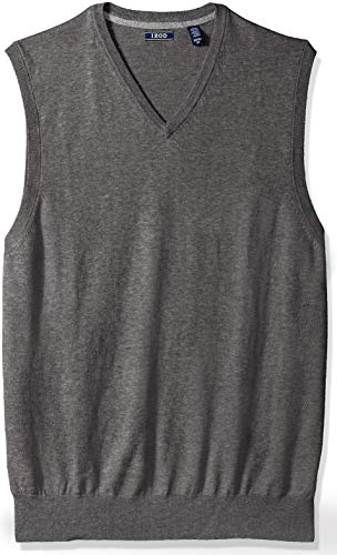IZOD Men's Big and Tall Soft Fine Gauge V-Neck Solid Sweater Vest, New Carbon Heather 2X-Large