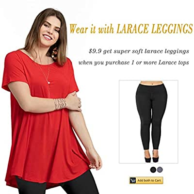 LARACE Women Short Sleeves Flare Tunic Tops for Leggings Flowy Shirt: Clothing