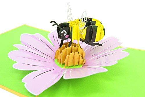 PopLife Bumble-bee 3D Pop Up Mothers Day Card for your HONEY! - Pop Up Happy Anniversary Card, Birthday Popup, Congratulations - Folds Flat - for Mom, for Wife, for Daughter, for Hubby, for Dad ()