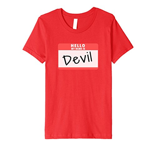 Youth Devil Costume (Kids Hello My Name is Devil Halloween Devil Costume Premium Shirt 12 Red)