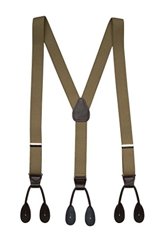 Hold'Em Suspender for Men Made in USA Y-Back Leather Trimmed button end tuxedo suspenders Many colors and designs - Olive (Tall 54