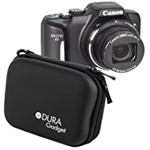 DURAGADGET Rigid Black Shell Case With Secure Dual Zips & Belt Clip For The Canon Powershot SX170 IS