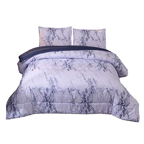 NTBED Marble Comforter Set Queen, Brushed Quilt Bedding Sets (Blue, Queen)