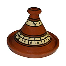 Moroccan Medium Cooking Tagine 10 inches 42 Measurement: Medium 10 inches in diameter Cook Chicken, Meat, Seafood or Vegeterian food ready to be used for your cooking in the oven or on top of your electric or glass stove in a low heat