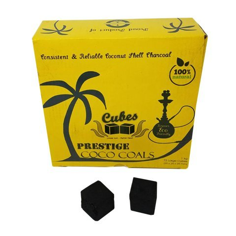 Prestige Bubbles Coco Coals 100% Natural Coconut Hookah Charcoal, Large Shisha Cubes, 1kg by Prestige Bubbles