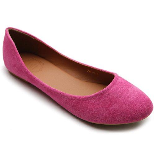 (Ollio Womens Shoe Ballet Light Faux Suede Low Heels Flat ZM1014(6 B(M) US, Pink))