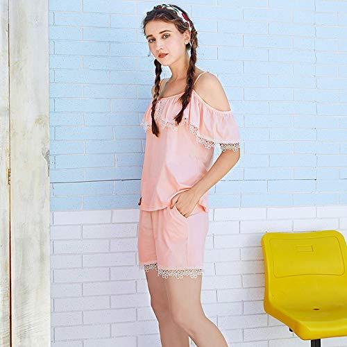 100 Servicio Cortos Pantalones Camisón Algodón Traje Pijamas De Algodón Hogar Con Para S Mujer Verano Baujuxing qwIvXOfv