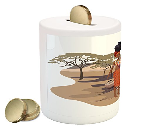 African Woman Piggy Bank by Ambesonne, Native Woman Carrying a Pot Hut Tree Natural Landscape Village Illustration, Printed Ceramic Coin Bank Money Box for Cash Saving, - Hut The Village