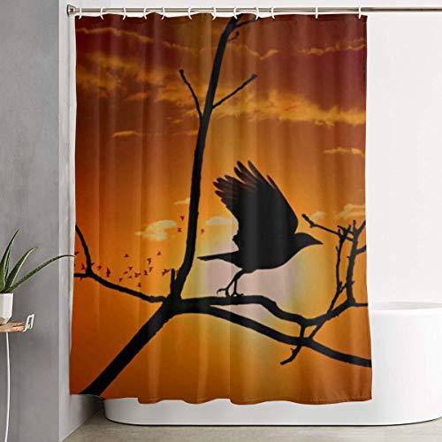 Mikonsu Lihna Shower Curtain with Hooks Crow Bird Corvidae Wildlife Wing Flying Tree Art Bathroom Decor Bath Curtain-60x70 in]()