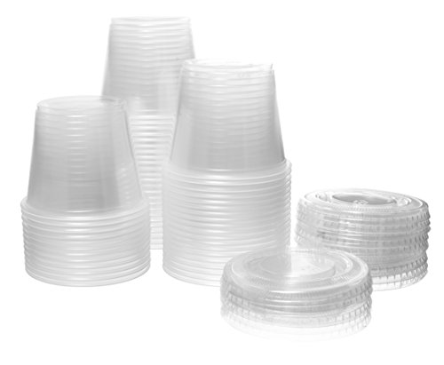 Crystalware, Disposable 5.5 oz. Plastic Portion Cups with Lids, Condiment Cup, Jello Shot, Soufflé Portion, Sampling Cup, 100 Sets - - Cream Coffee Cake Sour Apple