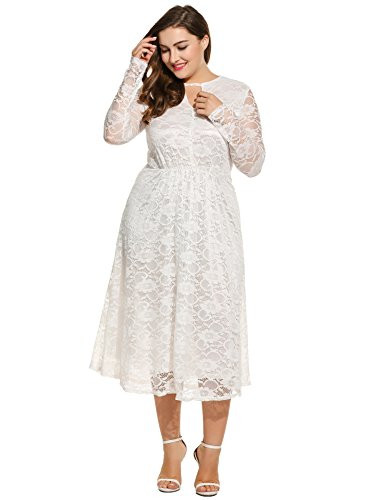 Meaneor Women Plus Sizes Casual Lace Dress (XXXL=US 22w, White)