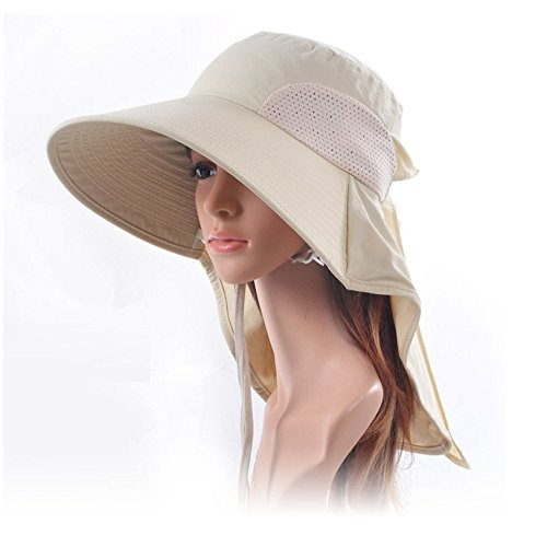 AUCH Adjustable Quick-drying Outdoor UV Spf 50+ Large Brim Visor/Boonie/Sand Beach Sun Hat with Net Protection for Women w/ Horsetails(Beige)