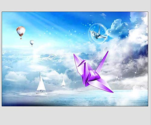 Thousands of Paper Cranes, Blue Sky and White Clouds, Bedroom Sofa Wallpaper, 3D Seamless, Full Mural, 105150cm