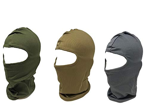 Lot of 3 Moisture Army Green Coyote Brown Grey Gray Wicking Dry Fit Balaclava Face Mask Hunting Military Hunt Biker Outdoors Ski Helmet
