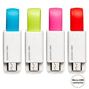 Urbo Cargador Llavero con Conector USB-A a Micro-USB (Paquete de 4) para Android, Windows, Blackberry Y Otros Dispositivos Compatibles Micro-USB