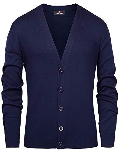 - PJ PAUL JONES Men's Long Sleeve V Neck Button Closure Ribbed Edge Cardigan Sweater(XL,Blue)