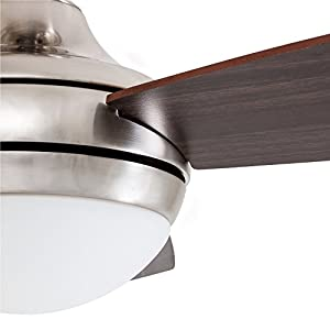 Prominence Home 80035-01 Calico Modern/Contemporary LED Ceiling Fan with Remote Control, 52 inches, Energy Efficient, Cased White Integrated Light Kit, Brushed Nickel