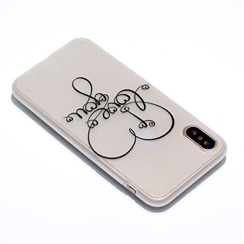 iPhone 8 Custodia , Leiai Moda Cuore Fluorescenza Trasparente Silicone Morbido PU Protettivo Antiurto Cover Case Shell Custodia per Apple iPhone 8