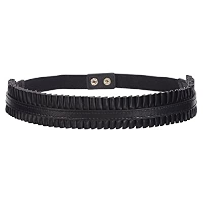 Sunny Belt Girls 1 1/2 Inch Wide Faux Leather Black Elastic Belt With Ruffle
