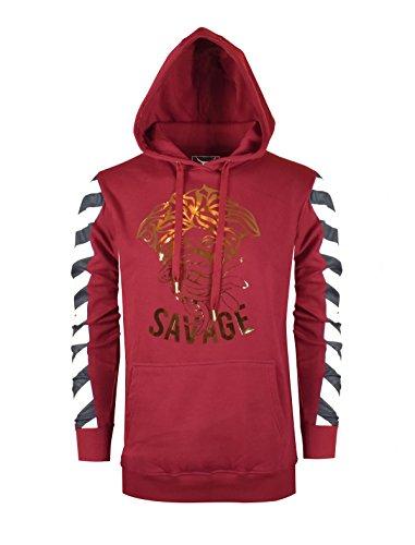 SCREENSHOT SCREENSHOTBRAND-51742 Mens Premium Urban Fleece Hoodie - Pullover Long Sleeves Street Fashion Hoody Savage Foil Stamp - Burgundy - (Savage Racing)