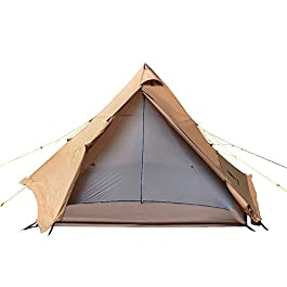 GEERTOP Teepee Camping Tent 4-6 Person Double Layer Family Tents for Outdoor Hiking Travel – One Pole Easy Set Up Tent