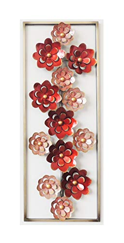All American Collection Modern Chic Aluminum/Metal Wall Decor with Frame | Red Flowers
