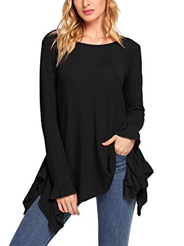 SheIn Women's Loose Scoop Neck Long Sleeve Asymmetric Ruffle Hem Knit Top Black Small -