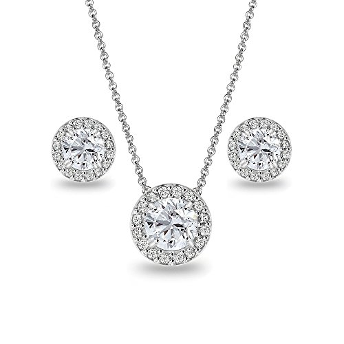 (Sterling Silver Created White Sapphire Round Halo Necklace and Stud Earrings Set)