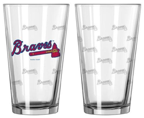 Braves Atlanta Glass - MLB Atlanta Braves 128543 Pint Glass, Clear, One Size