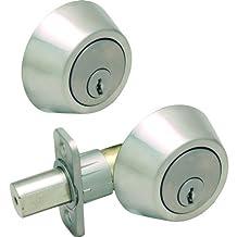 Designers Impressions Satin Nickel Double Cylinder Deadbolt Kwikset Keyway (We Key Lock Orders Alike for Free)