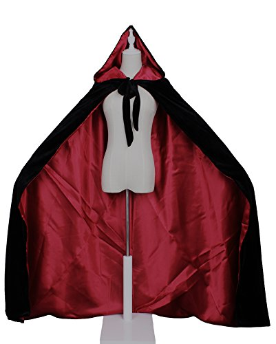 LuckyMjmy Velvet Renaissance Medieval Cloak Cape lined with Satin (Large, Black-Dark red) ()