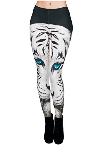 Ayliss Printed Brushed Leggings Regular or Plus Size Stretchy Capris 22Pattern,White - Animal Leg Sexy Print
