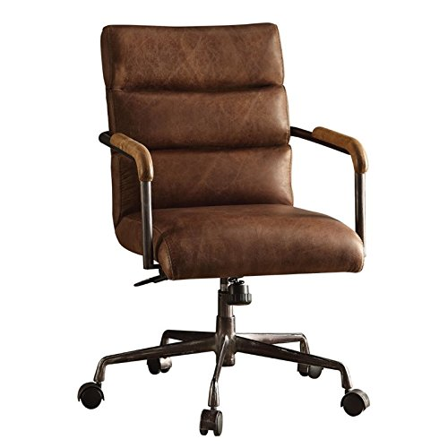 Acme Furniture 92414 Harith Top Grain Leather Office Chair in Retro Brown - Top Leather Chair