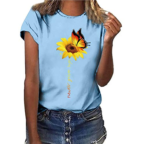 Sunflower T-Shirts,Pengy Women's Plus Size Printing Short Sleeved
