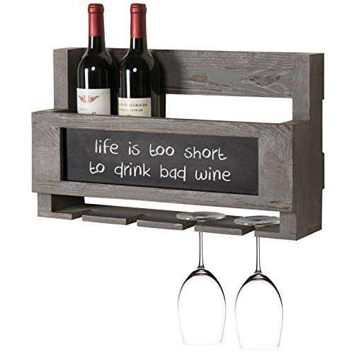 MyGift Rustic Grey Wood Wall Mounted Wine Glass & Bottle Rack with Chalkboard