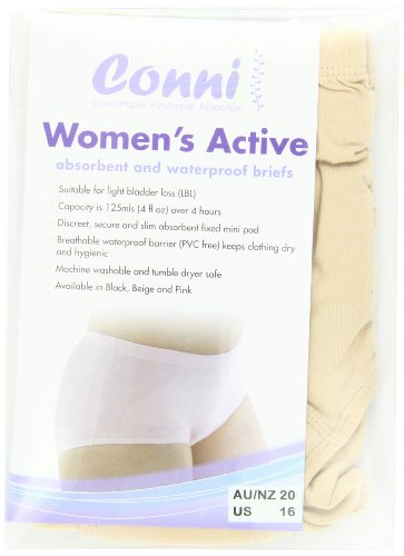 Conni Women's Active Undergarments, Beige, Size 16 3XL, 5 Ounce (Pack of 20)